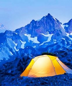 Tent In Mountain Landscape Camping paint by numbers