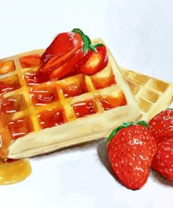 waffles And Strawberries paint by numbers