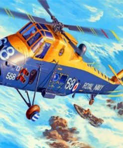 Yellow And Grey Helicopter Paint by numbers