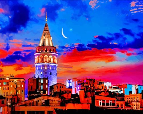 Aesthetic Galata Tower paint by number