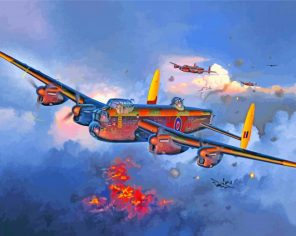 Avro lancaster War Plane paint by number