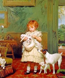 Charles Burton Barber girl with dogs paint by numbers