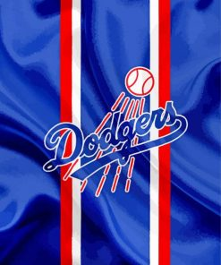 Dodgers Baseball Logo paint by number