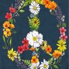 Floral Peace Symbol paint by numbers