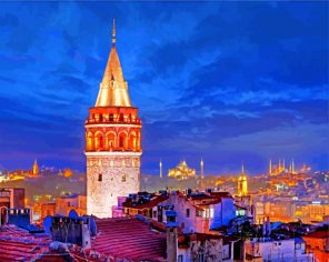 Galata Stone Tower paint by number
