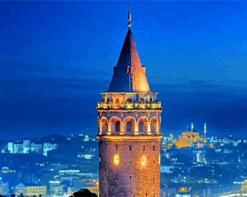 Galata Tower Istanbul Turkey paint by number