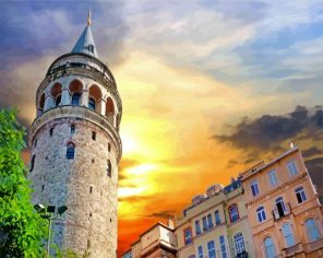 Galata Tower Turkey paint by number