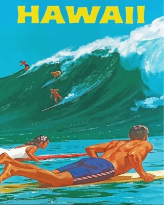 Hawaii Surfers Poster Paint by numbers