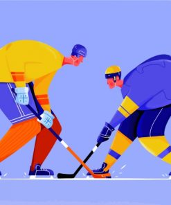 Ice Hockey Player Illustration paint by numbers