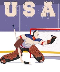 Ice Hockey Poster paint by numbers
