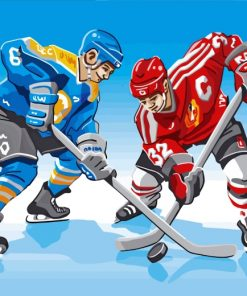 Illustration Ice Hokey Players paint by numbers