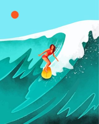 Illustration Surfer Girl paint by numbers