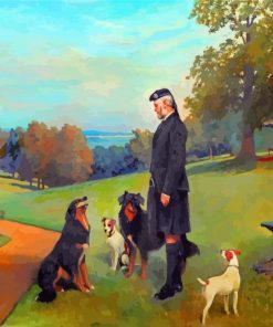 John Brown With Dogs At Osborne By Charles Burton Barber paint by number