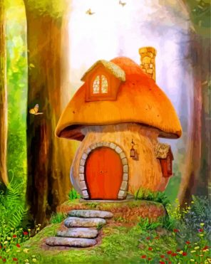 Mushroom House paint by numbers