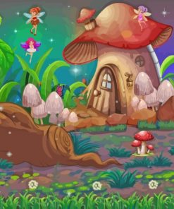Mushroom House And Fairies Paint by numbebrs