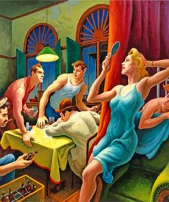 Poker Night Thomas Hart Benton paint by number