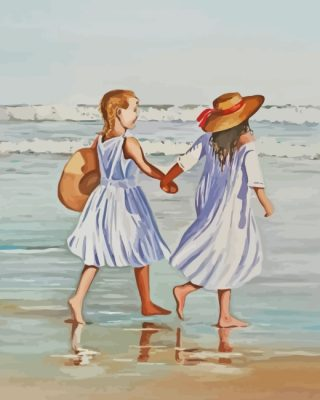 Sisters In Beach paint by numbers