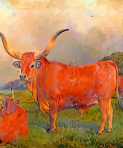 A Group Of Spanish Oxen Charles Burton Barber Paint by number