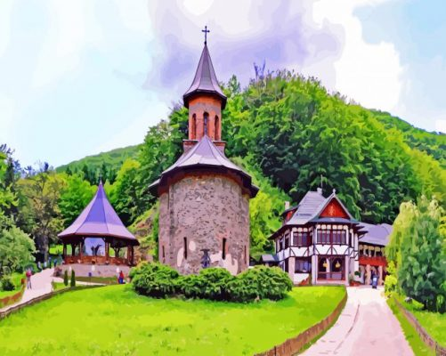 Aesthetic Prislop Monastery Transylvania paint by numbers