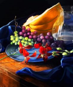 Grapes And Melon Fruits paint by numbers