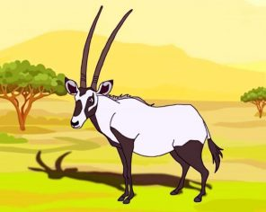Black And White Oryx paint by numbers