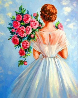 Bride Holding Flowers paint by numbers