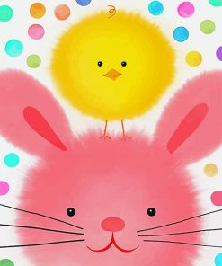 Chick And Easter Bunny paint by numbers