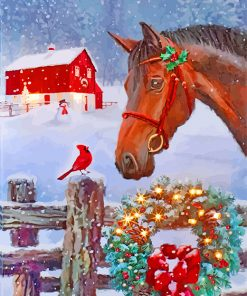 Christmas Horse SceneChristmas Horse Scene paint by numbers