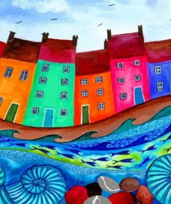 Colorful Houses Art paint by numbers