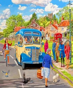 Country Blue Bus paint by number