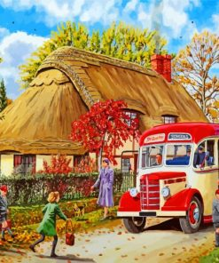 country school bus paint by numbers