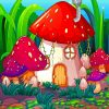 Fantastic Mushroom House paint by numbers