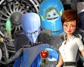 Megamind And Minion And Roxanne paint by numbers