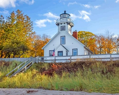 michigan Mission Point Lighthouse paint by number