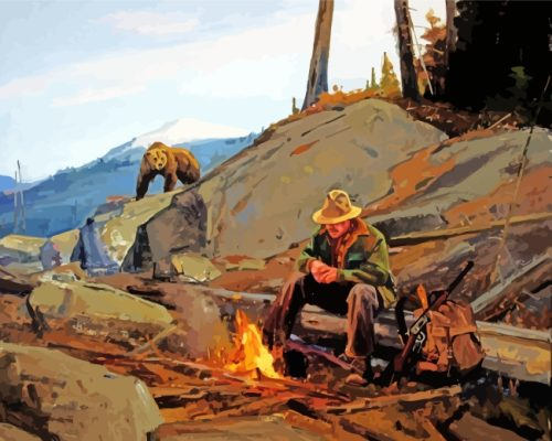 Bear And Hunter paint by numbers