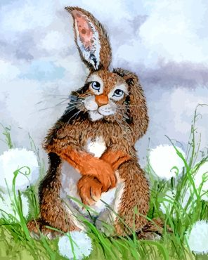 Rabbit And Dandelions paint by numbers